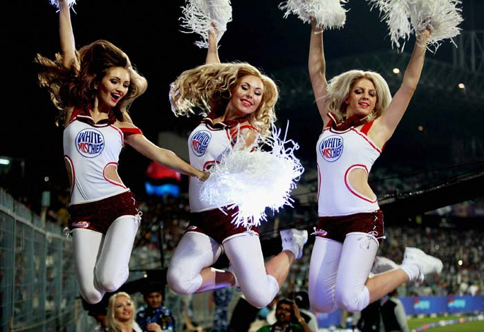 The cheerleaders gave a lively feel at the Eden Gardens as they soaked in the atmosphere of the match. (PTI image)
