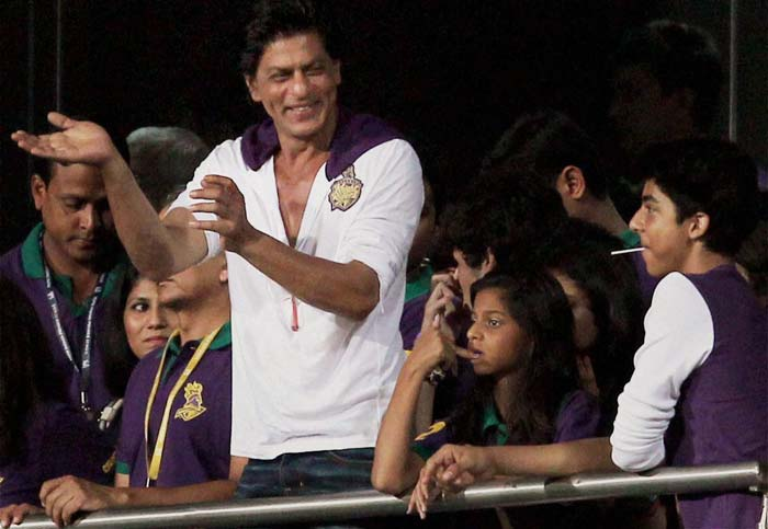 Shah Rukh Khan is known to get behind his team and here he is seen cheering his team Kolkata Knight Riders against Delhi Daredevils. (PTI image)