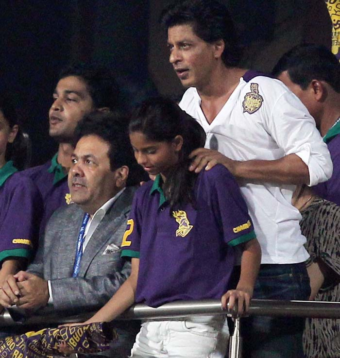 Here SRK is seen with BCCI Chairman Rajeev Shukla in the stands as they look on during the opening match between Kolkata Knight Riders and Delhi Daredevils. (PTI image)