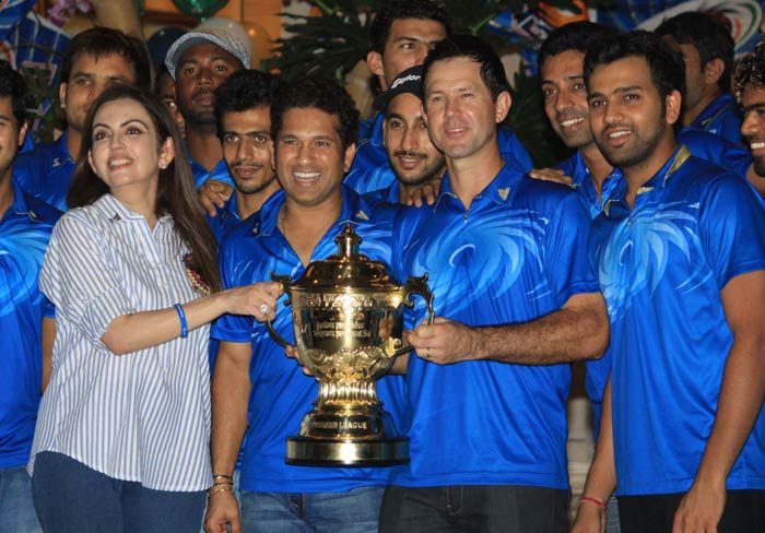 In wake of Mumbai's win over Chennai in the IPL 2013 final, Nita and Mukesh Ambani hosted a dinner party at their residence to celebrate the team's first IPL title. (Photo credit: Santosh Nagwekar)