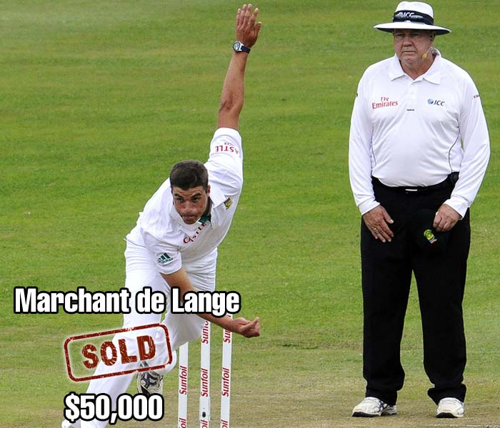 Marchant de Lange's 7-wicket debut was enough to earn him a $50,000 selling price from Kolkata Knight Riders.
