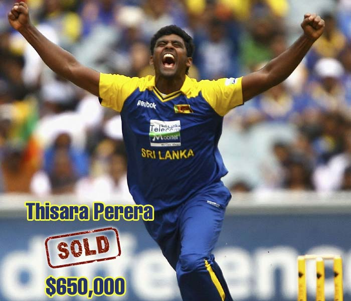 Thisara Perera was one of the players who got stuck in the plans of two teams and made the most out of it. The Sri Lankan went for a massive $650,000 to the Mumbai Indians.