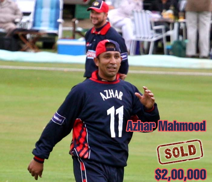 Azhar Mahmood's all-round capabilities still has admirers and his newly attained British citizenship meant that the former Pakistani cricketer could evade the ban on players from his native country. He was sold for $200,000 to the Kings XI Punjab.