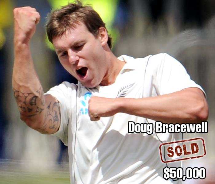 Fast bowlers were less in demand at the auction which meant that promising Doug Bracewell had to wait until the second round of bidding to be sold for his base price of $50,000 to the Delhi Daredevils.