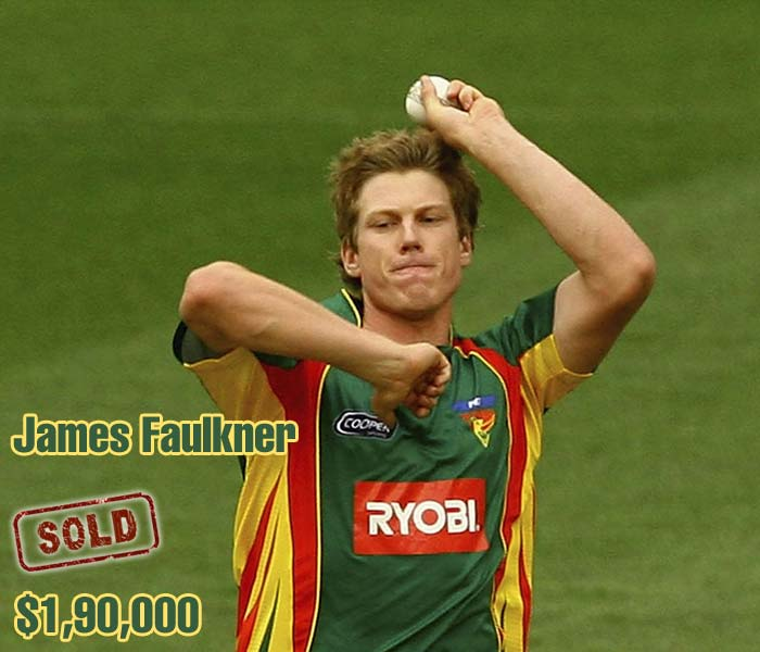 Highly rated all-rounder James Faulkner was picked up by Kings XI Punjab for $190,000.