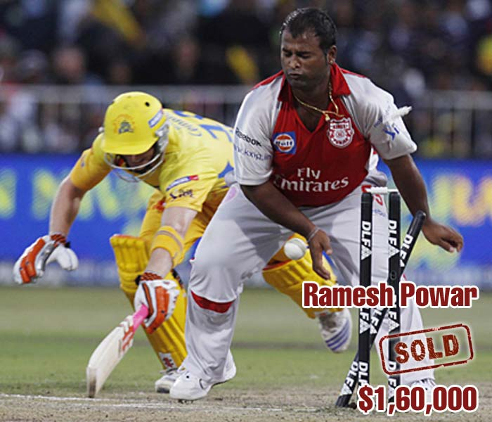 The bidding on Ramesh Powar was mild and it finally ended on a $160,000 call from former side Kings XI Punjab.