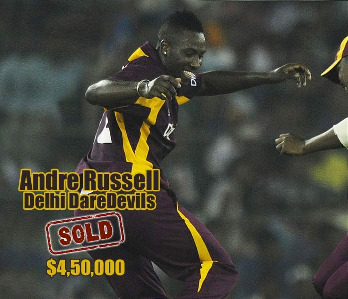 Andre Russell became the first player sold in the all-rounders category, to Delhi Daredevils for $450,000.