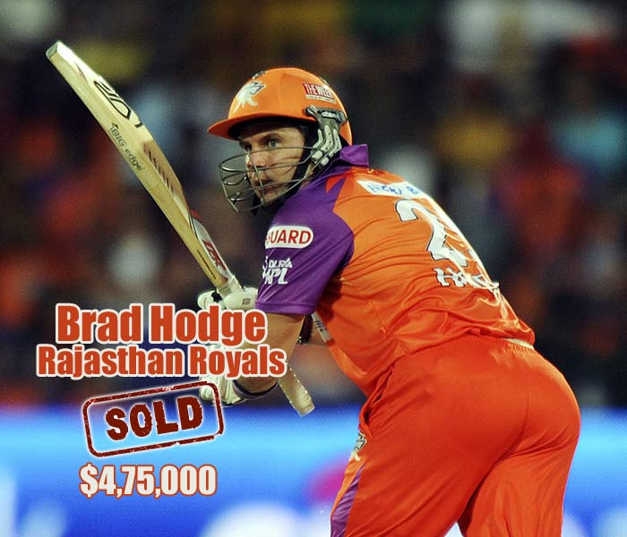 Useful all-rounder Brad Hodge was sold to Rajasthan Royals for $475,000.