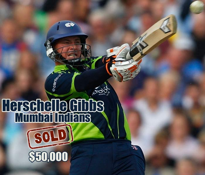 Hard-hitting Herschelle Gibbs was surprisingly not on most of the franchises agenda. He went to Mumbai Indians for $50,000.