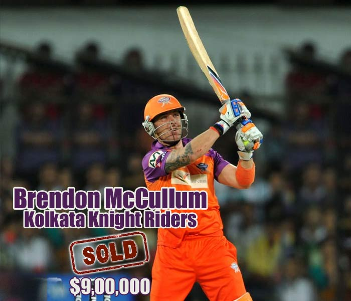 Brendon McCullum was the first player to be sold and he went to Kolkata Knight Riders for USD 900,000.