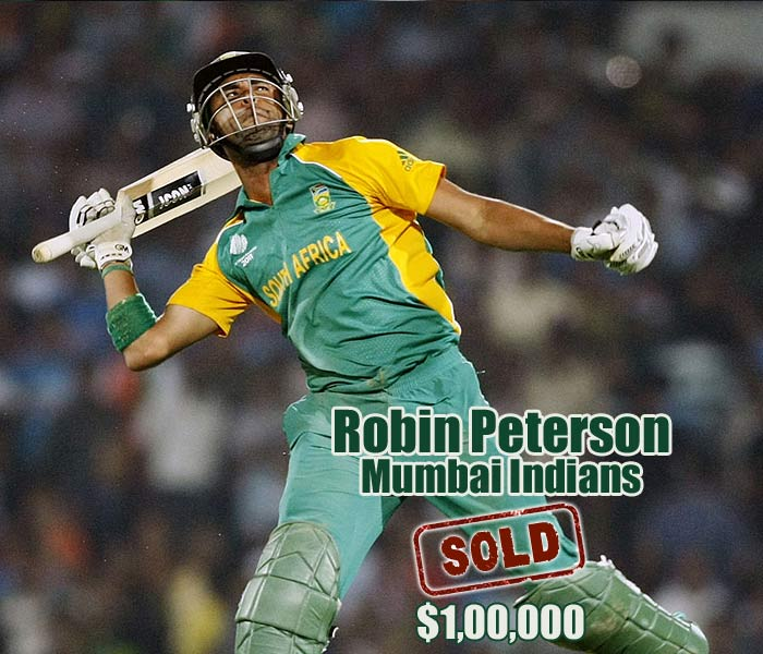 Spinners seemed to be much in demand at the IPL auction. Robin Peterson went for his base price of $100,000 to the Mumbai Indians.