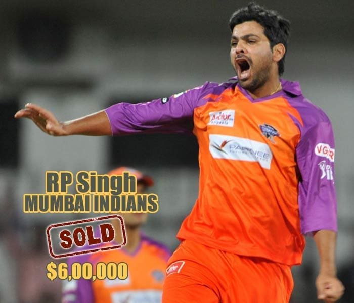 RP Singh went to Mumbai Indians for $600,000 after extensive bidding.