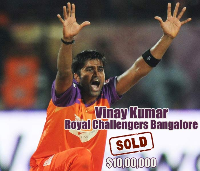 After Jayawardena, another ex-Kochi player hit the million mark. Vinay Kumar was bought by the Royal Challengers Bangalore for exactly $1 million.
