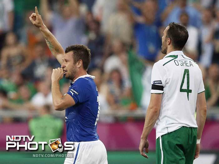 Ireland goalkeeper Shay Given got his hand to Cassano's header but couldn't prevent it from going in.