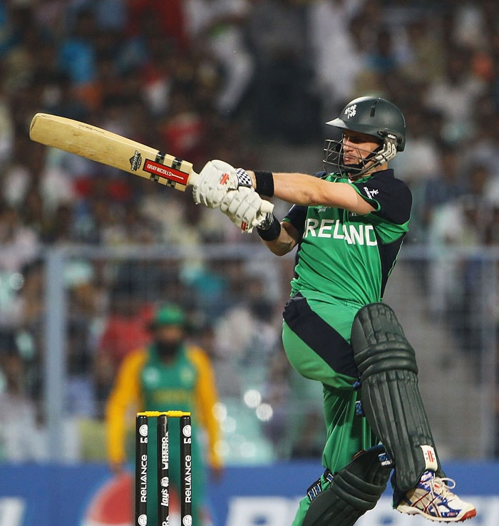 William Porterfield of Ireland pulls the ball towards the boundary during the 2011 ICC World Cup Group B match between Ireland and South Africa at Eden Gardens. (Getty Images)