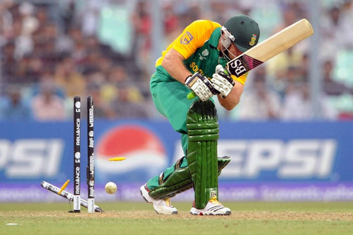Colin Ingram of South Africa is bowled by Trent Johnston of Ireland during the 2011 ICC World Cup Group B match between Ireland and South Africa. (Getty Images)