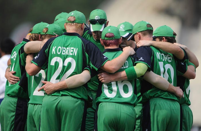 Ireland players huddle before the Cricket World Cup group B match between Ireland and South Africa at the Eden Garden Stadium in Kolkata. (AFP Photo)