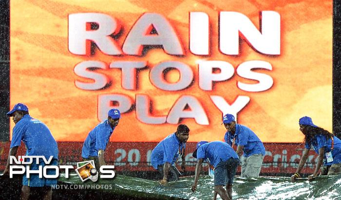 Rain stopped play after just 5 overs when Ireland were 33/1. The match was then reduced to 19 overs a side.