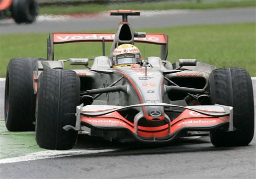 Britain's Lewis Hamilton steers his McLaren Mercedes during the Formula One Grand Prix in Monza, Italy on September 14, 2008.