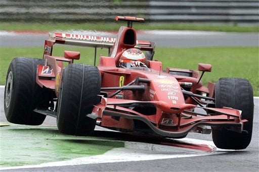 Finland's driver Kimi Raikkonen steers his Ferrari during the Formula One Grand Prix in Monza, Italy on September 14, 2008.