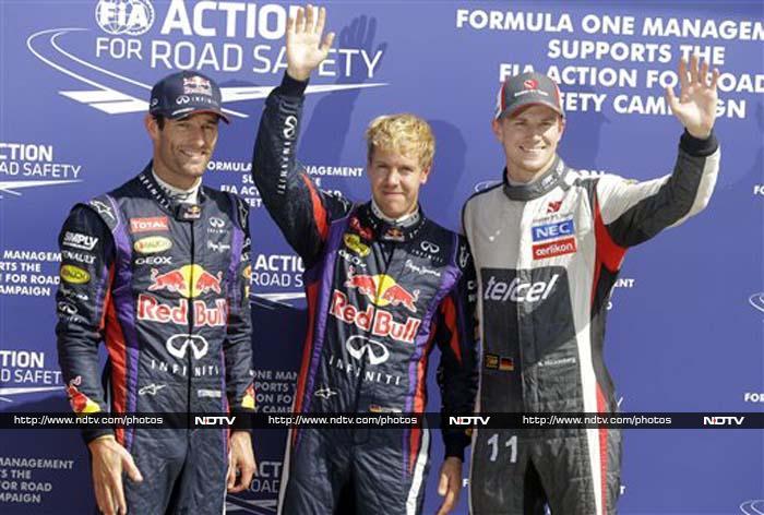 Sebastian Vettel ended Lewis Hamilton's run of 4 straight pole positions. Sauber's Nico Hulkenburg qualified a stunning 3rd.