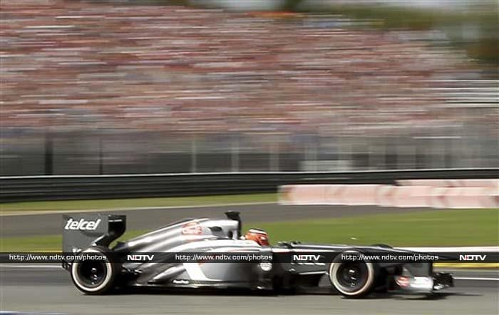 German Nico Hulkenberg delivered a stunning late lap to snatch third place for Sauber ahead of the Ferraris of Brazilian Felipe Massa and Spaniard Fernando Alonso.