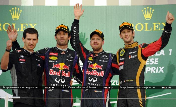 Webber's three-stop strategy cost him and, although he finally passed a determined Grosjean with two laps of the 53 left, it was too late to catch his team-mate and claim a first victory of the year in his last season in F1.