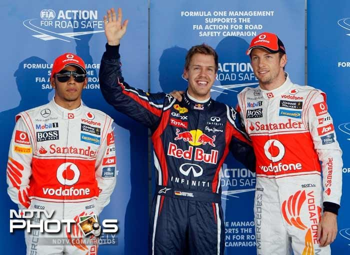 The Red Bull driver, who has dominated the season and needs just one point to reclaim his driver's crown, timed quickest ahead of McLaren duo Jenson Button and Lewis Hamilton, who will start second and third.