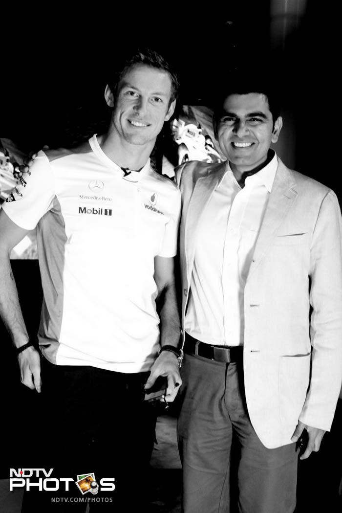 Button is seen here with Siddharth Vinayak Patankar. The Briton is currently placed sixth in the 2012 drivers' standings and is 21 points behind Red Bull's Mark Webber.