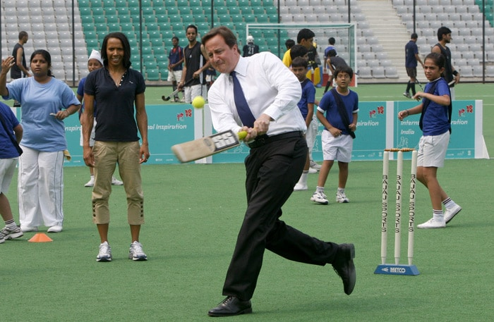 """Cameron, later said, it was a childhood dream come true. """" Thank you for letting me realise a childhood dream when I hit Kapil Dev for a six today, in the hockey stadium. But I do admit he was bowling a tennis ball at me rather than a cricket ball, which made my life just that much easier."""" (AP Photo)"""