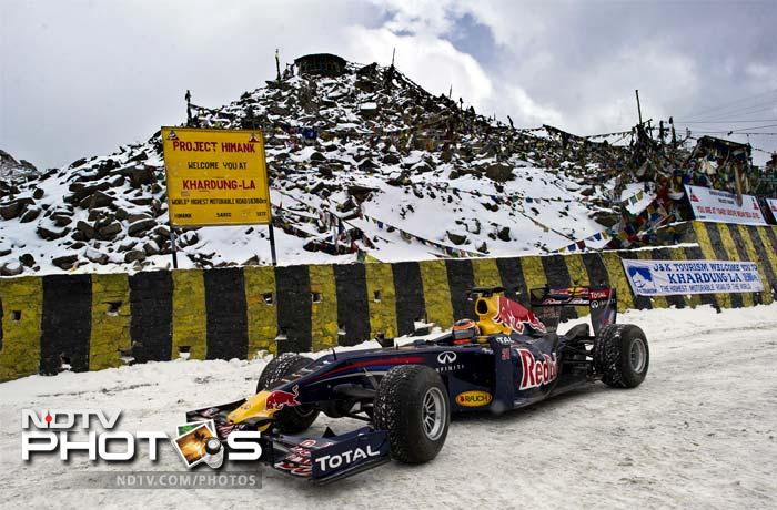 Red Bull Racing driver Neel Jani drove the team's Formula One Show car on the World's Highest Motorable Road at the Khardung-La pass in the Leh region of India at a dizzying height of 18,380 feet.