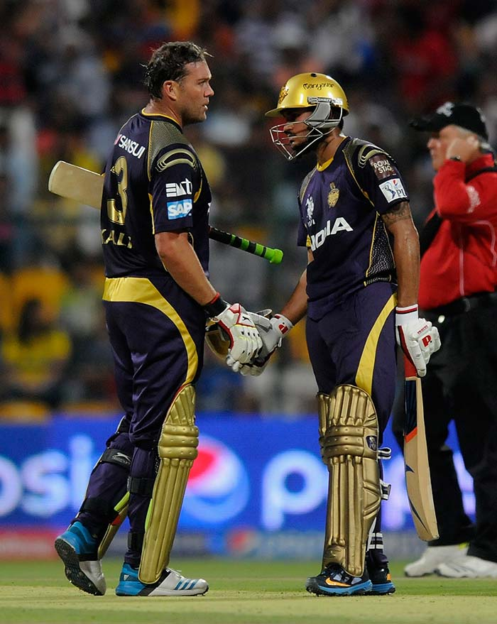 Kolkata Knight Riders registered an emphatic 41-run over Mumbai Indians. Opting to bat, KKR rode on Kallis' 72 and Manish Pandey's 64 to post a competitive 163 for five, before restricting Mumbai Indians to 122 for seven. (All BCCI pictures)