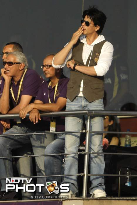 Co-owner of KKR, Shah Rukh Khan appeared happy with the eventual target that his team was set, Kolkata needing 135 for a win. (AP Photo/Bikas Das)