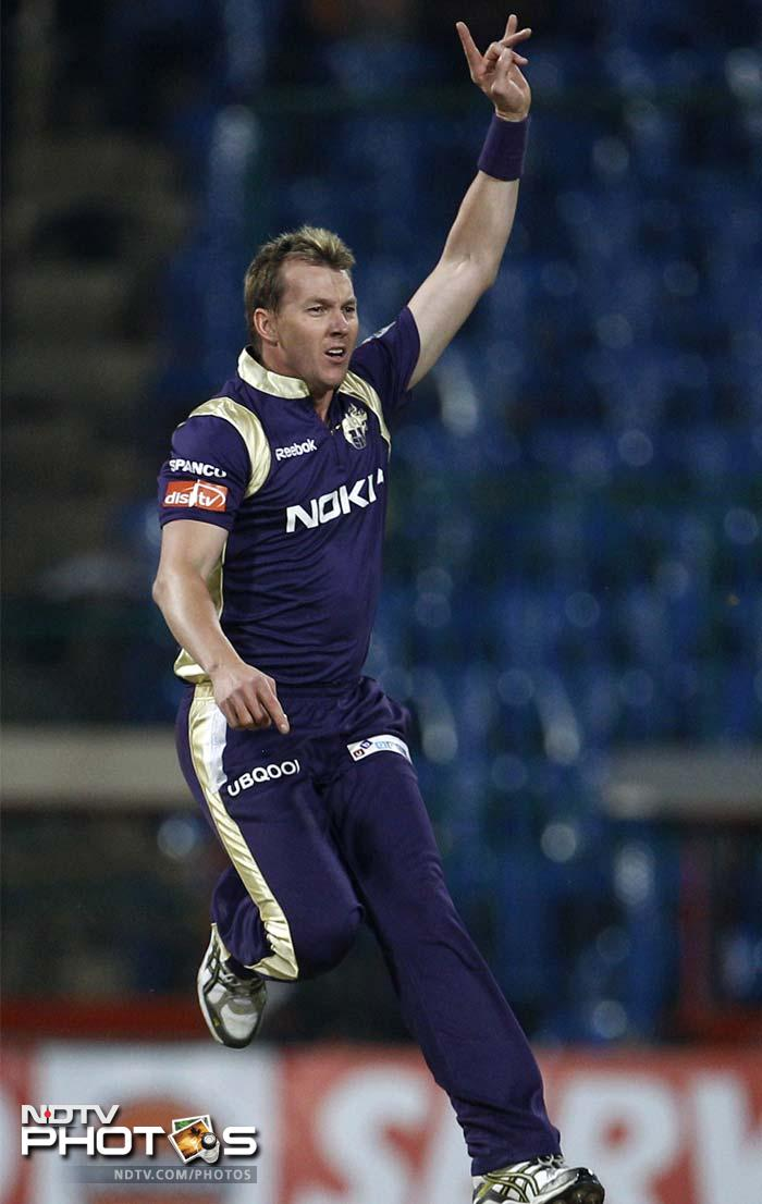 Brett Lee reacts after dismissing Colin Ingram. Ingram was his only wicket of the day.