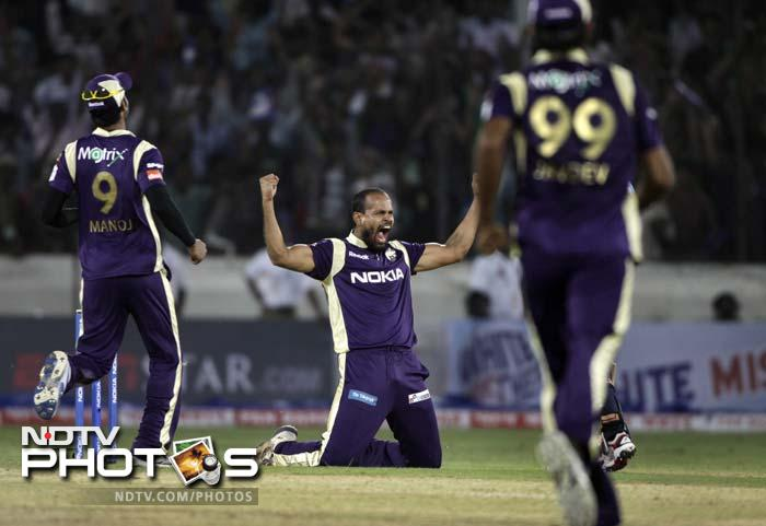 It went down to the wire before Kolkata Knight Riders prevailed over the Auckland Aces by 2 runs in their T20 Champions League qualifier. Kolkata were aided by the good show of their slow bowlers. Auckland's slide started with dangerman Lou Vincent's dismissal, sent back after being run out. Yusuf Pathan then picked up two wickets in three balls. (AP Photo)