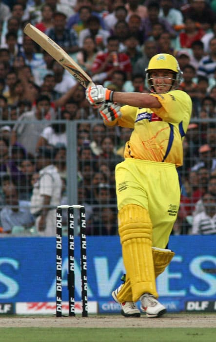 Chennai Super Kings batsman Michael Hussey plays a shot during the IPL Twenty20 cricket match against Kolkata Knight Riders at the Eden Garden Stadium on May 7, 2011. (AFP PHOTO)