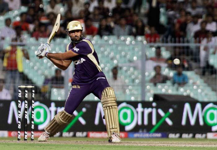 Kolkata Knight Riders' dangerman Yusuf Pathan hits a shot during the IPL cricket match against Deccan Chargers, in Kolkata. (AP Photo)