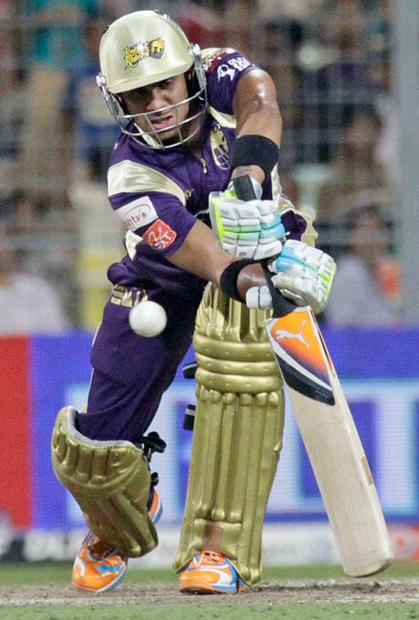 Kolkata Knight Riders' Manoj Tiwary plays a defensive shot during the Indian Premier League cricket match against Kings XI Punjab at the Eden Gardens Stadium. (AP Photo)