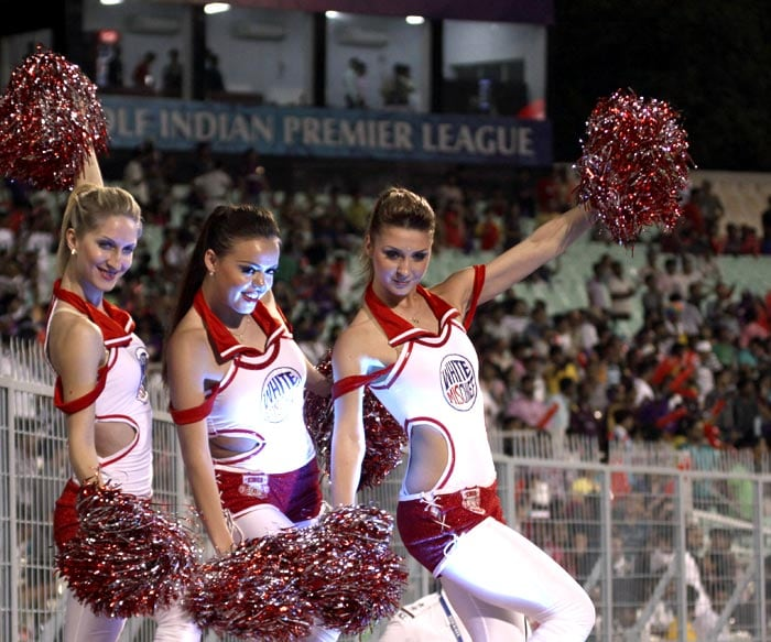 Cheerleaders perform before the IPL Twenty20 cricket match between Kolkata Knight Riders and Kings XI Punjab at the Eden Gardens Stadium. (AFP PHOTO)