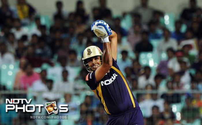 Kolkata Knight Riders batsman Manvinder Bisla plays a shot during the IPL Twenty20 cricket match against Rajasthan Royals at the Eden Gardens in Kolkata. (AFP PHOTO/Dibyangshu SARKAR)