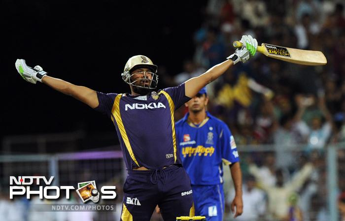 It was a sweet revenge for Kolkata Knight Riders as they defeated Rajasthan Royals by five wickets in a closely-contested IPL match. Rajasthan had defeated KKR by 22 runs in their earlier meeting a few days back. (AFP PHOTO/Dibyangshu SARKAR)