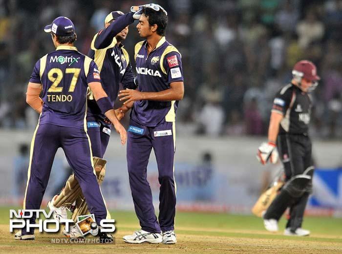 Jaidev Unadkat, who got 2 wickets, got rid of the dangerous Roelof van der Merwe to bring Kolkata back in the game. (AFP Photo)