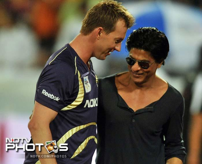 Ryan ten Doeschate's 46 helped Kolkata Knight Riders qualify for the Champions League T20 despite an 11-run loss to Somerset, who also progressed to the main draw. Kolkata owner Shahrukh Khan was all smiles after his team's progress. (AFP Photo)