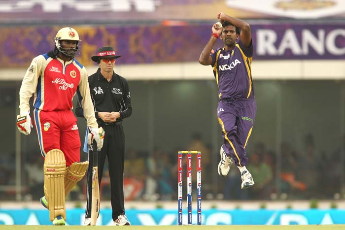Bangalore did not start well as Sachithra Senanayake, brought in for Eoin Morgan, and L Balaji, the last match hero for KKR, bowled brilliantly on the 'fresh' wicket in Ranchi.<br> While it is Cheteshwar Pujara's style to bat cautiously in the beginning, even Chris Gayle found it hard to get going on what looked like a slow pitch. (BCCI Image)