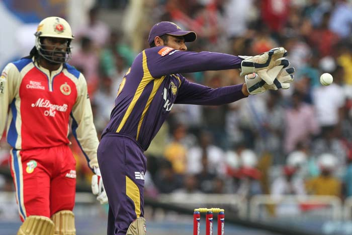 It became Kolkata's day when Gayle, who was looking to stay on till the end, was dismissed by national teammate Sunil Narine. Manvinder Bisla completed a fine stumping as the West Indian dragged his foot just a bit. He scored an uncharacteristically slow 33 off 36 balls. (BCCI Image)