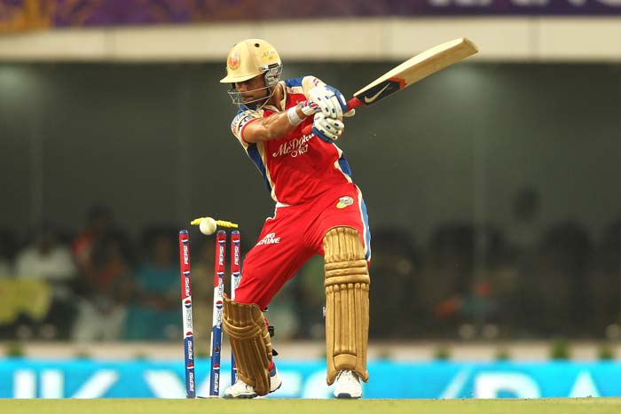 It was not before the tenth over that RCB opened up with Virat Kohli hitting a four and Gayle a straight six to take 14 off Ryan ten Doeschate's first over. <br> KKR though, struck in the next over as Jacques Kallis removed Bangalore skipper Kohli for 17 off 14 balls. He was dismissed trying to cut a length ball and managing an inside edge. (BCCI Image)
