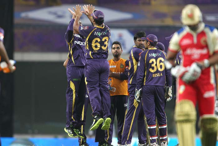 Sunil Narine grabbed the purple cap in process with amazing figures of 4/22. All other bowlers - L Balaji (2/22), Jacques Kallis (2/17) and Sachithra Senanayake (1/17) - ended with fine figures to keep the visiting side in check. (BCCI Image)