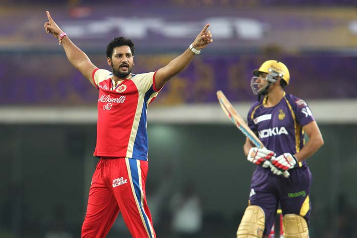Kolkata had the worst possible start as Ravi Rampaul struck off the second ball of their innings to dismiss Manvinder Bisla for a duck. Moises Henriques took a simple catch at point as the KKR batsman slashed hard. (BCCI Image)