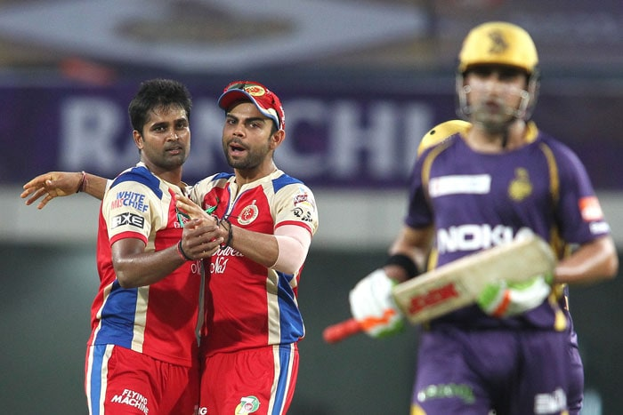 It was Vinay Kumar though who kept Bangalore in hunt with KKR skipper's wicket in his first over. A rare sight, especially in T20s, was witnessed when the left-hander was caught at slip by Gayle. Gambhir scored 14 off 15 balls. (BCCI Image)