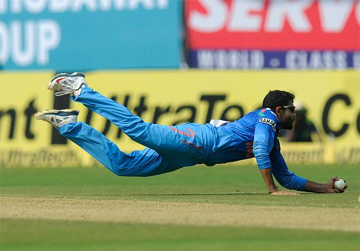 Jadeja took this brilliant catch to dismiss opener Johnson Charles who was playing relatively well till this happened. <br><br>He scored 42 before becoming one of Jadeja's three victims.